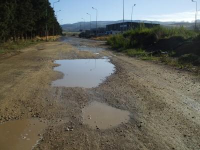 La strada di accesso alla zona Pip di Comiso