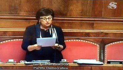 La senatrice Padua durante un intervento in Aula