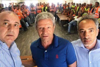 I segretari Sanzaro,Bandiera e Scifo all'assemblea dei lavoratori della Cosige